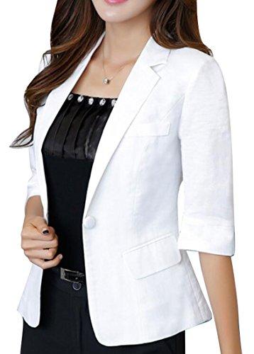 LD Womens Casual Cotton Linen 3/4 Sleeve Short Crop OL Work Blazer Jacket Coat White ()