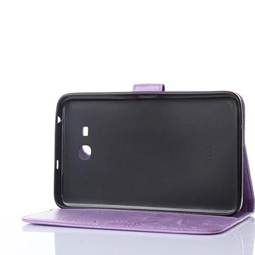 JIALUN-Personality teléfono shell Samsung Tab 3 Lite 7.0 pulgadas T110 T111 cubierta de la caja, Retro Folio Flip Funda de flores en relieve Butterfly Pattern con ranuras para tarjetas Wallet para Sam Light Purple