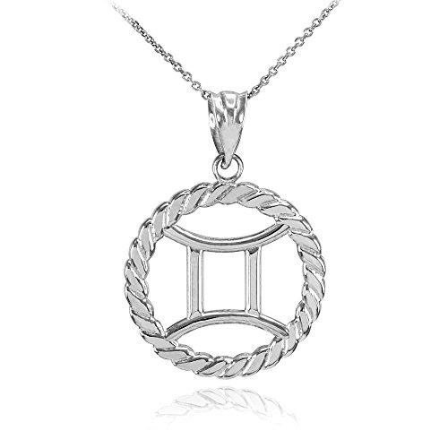 Collier Femme Pendentif 10 Ct Or Blanc Gémeaux Zodiaque Signe À Cercle Corde (Livré avec une 45cm Chaîne)
