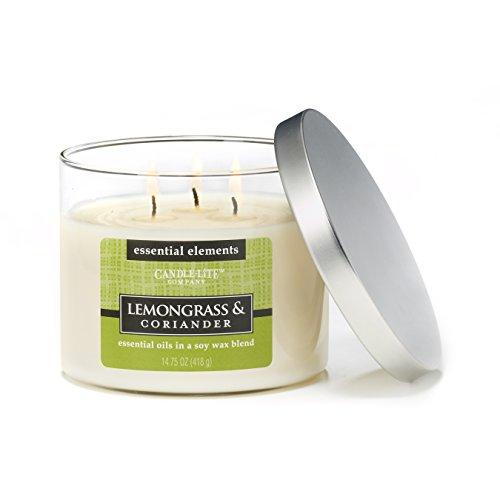 Lemongrass Candle (Candle-lite Essential Elements 14-3/4-Ounce 3 Wick Candle with Soy Wax, Lemongrass and Coriander)