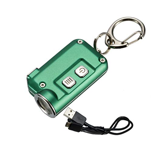 Nitecore TINI 380 Lumens Mini Metallic Micro USB Rechargeable Keychain Light with Lumen Tactical Charging Cable (Green)