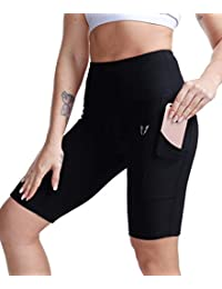 "FIRM ABS Women's 4""/8"" High Waist Running Workout Yoga Shorts Half Tight Pockets"