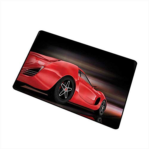 Jbgzzm Stylish Commercial Grade Entry pad Cars Decor Rear View of A Futuristic Sports Car Motion Power Transportation Vehicle Sublime Motor Decor W30 xL39 All Season General Red - Sweep Zoo Power