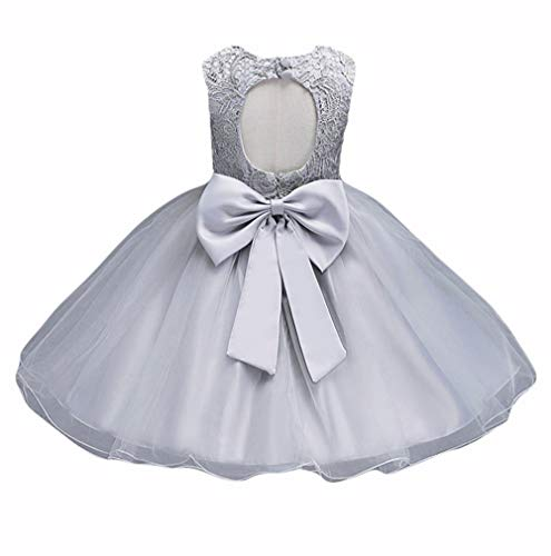 21KIDS Baby Girls Tulle Lace Flower Bridesmaid Gown Backless Dress with Bow for Party Wedding,Gray,5-6 Years