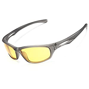 Siren Polarized Sports Sunglasses w Case TR90 Unbreakable Frame (Yellow Night Vision Lens Black Frame)