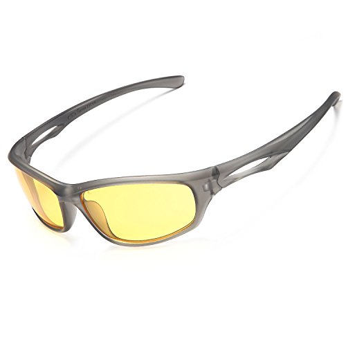 Siren Polarized Sports Sunglasses w Case TR90 Unbreakable Frame (Yellow Night Vision Lens Black Frame)