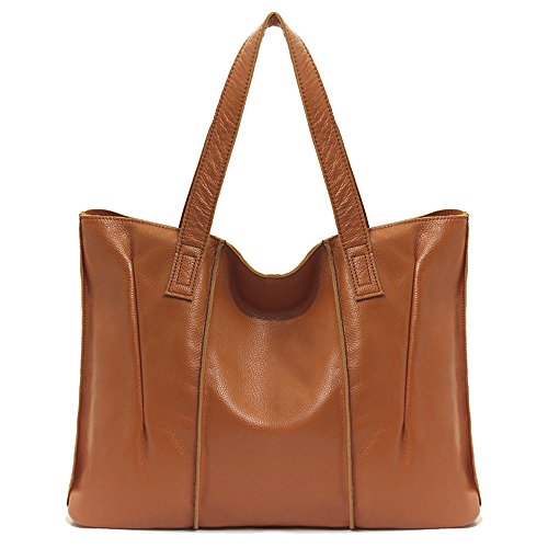 Fezhiomu 2018 New Vintage Fashion Casual Genuine Cowhide Leather Handbag and Purse for Women Large capacity Tote brown