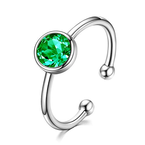 AOBOCO Sterling Silver Created Emerald Ring Toe Rings Adjustable Stackable Wrap Open Ring with Crystals from Swarovski Jewelry for Women
