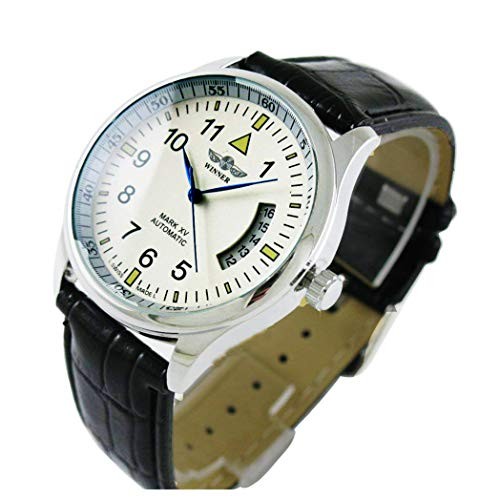 Sports Automatic Self Winding Watch - Men's Sport Date Black Leather Strap Automatic Self Winding Watch (White)