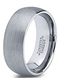 Tungsten Wedding Band Ring 7mm for Men Women Comfort Fit Domed Round Brushed Lifetime Guarantee