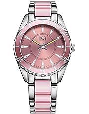 Luxuriös Damen Quarz Edelstahl Uhr Silber und Armband Kristall Akzent Tages rund wasserdicht analoge Armbanduhren für Damen