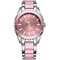Women Wrist Watch Pink and Silver 2 Tone Stainless Steel Bracelet Quartz Movement by M.E, Big Laser Dial with Diamond, Waterproof Sports Watch (Pink)