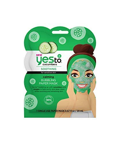 Yes To Cucumbers Calming Bubbling Paper Mask - Single Use   For Sensitive Skin   Cucumbers and Oxygen To Purify, Deep Clean, Soothe and Refresh Skin