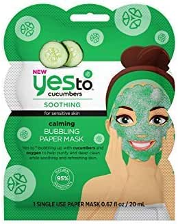 Yes To Cucumbers Calming Bubbling Paper Mask - Single Use | For Sensitive Skin | Cucumbers and Oxygen To Purify, Deep Clean, Soothe and Refresh Skin