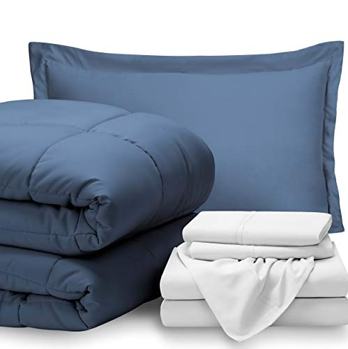 Fleece Cloud Comforter Twin - Hemau Bed-in-A-Bag 5 Piece Comforter & Sheet Set - Twin - Goose Down Alternative - Ultra-Soft 1800 Premium - Hypoallergenic - Bare Breathable Bedding (Twin, Coronet Blue/White) | Style 503193320