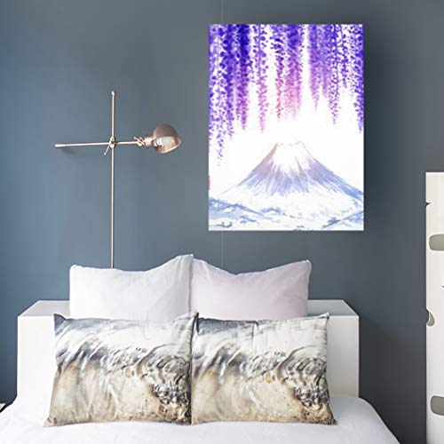 Aika Designs Canvas Prints Wall Art Painting Wisteria Blossom Fujiyama Green Mountain Oriental Nature Art Purple 16 x 16 Inches Modern Painting Decor Stretched Wooden Framed Wrapped Artwork
