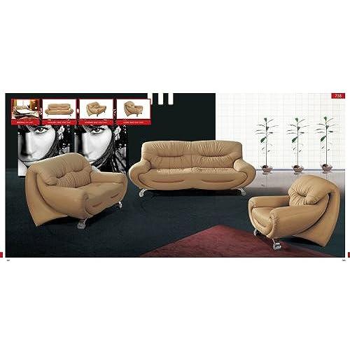 ESF Modern 738 Beige Italian Leather Sofa Set Contemporary Style