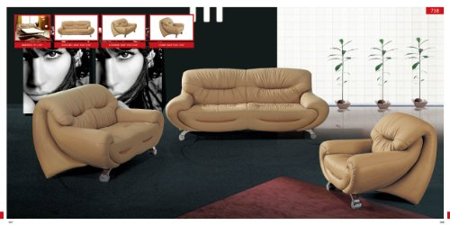 Italian Leather Match Loveseat (ESF Modern 738 Beige Italian Leather Sofa Set Contemporary Style)