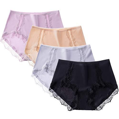 GLESTORE Dames Ondergoed Mid Rise Dames Knickers Modal Comfortabele Slips met Kant Hipster Slipje Pack van 4