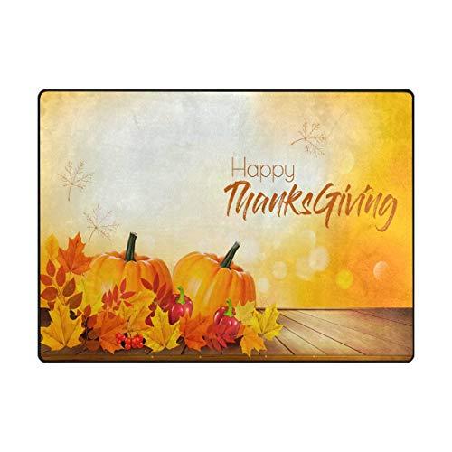 Area Rug Carpet Happy Thanksgiving Autumn Vegetables Leaves Pumpkin on Wooden Soft Non-Slip Runner Mat 4'x6', Indoors/Bedroom/Living/Dining/Kitchen Floor Mats,8mm Pile Height,Rectangular