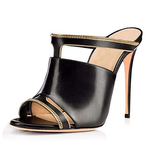 hauts Pantoufles Noir à talons Zl Open Toe Chaussures Femmes 40 Sandales Muller Femmes rouge fzTqw0