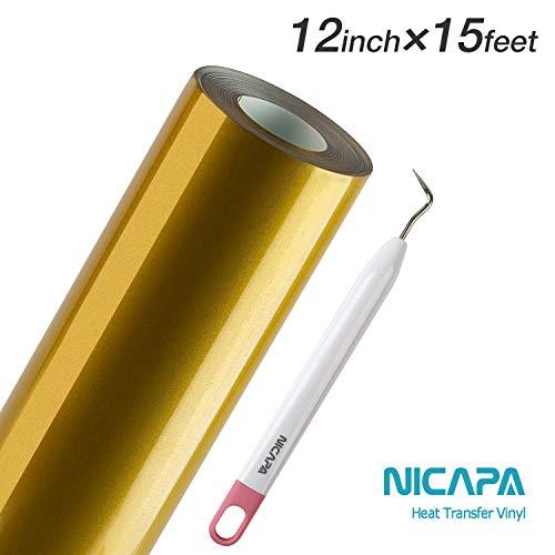 Nicapa HTV Vinyl Gold Roll 12inch x 15feet Iron on Heat Transfer Vinyl Roll Bundle for Silhouette/Cricut/Brother/Iron-on Heat Press T Shirts Garments Stencil Vinyl