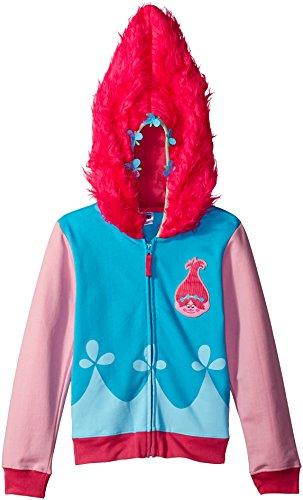 Trolls Girls' Little Movie Poppy Costume Zip Hoodie with Faux Fur on Hood, Blue/Pink, -