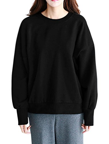 uxcell Women Lace Up Back Drop Shoulder Crew Neck Sweatshirt Black XS