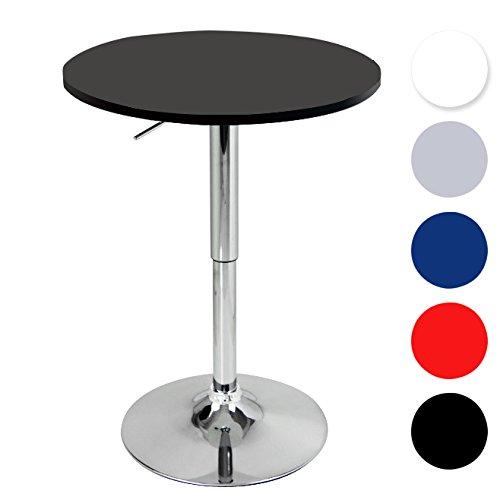 WOLTU BT02sz-a Bartisch Bistrotisch ,Design Tisch mit Trompetenfuß,höhenverstellbar,drehbare Tischplatte aus robustem MDF,Dekor,verchromter Stahl,Schwarz