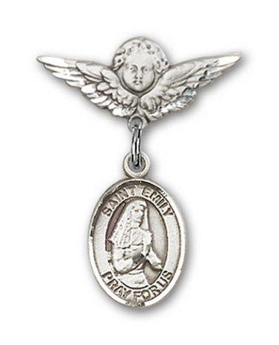 Icecarats Créatrice De Bijoux En Argent Sterling St. Émilie De Vialar Charme Ange Pin Badge 7/8 X 3/4