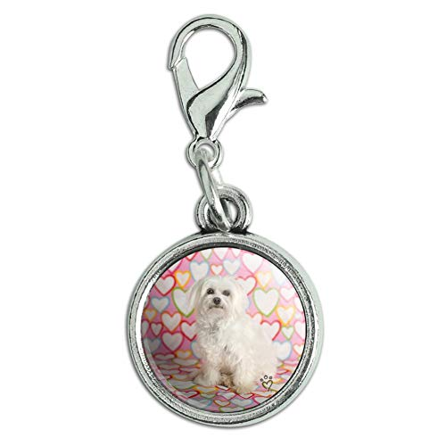GRAPHICS MORE Maltese Puppy Dog Hearts Love Antiqued Bracelet Pendant Zipper Pull Charm With Lobster Clasp