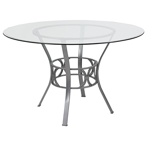Flash Furniture Carlisle 48'' Round Glass Dining Table with Silver Metal Frame 48' Round Tempered Glass