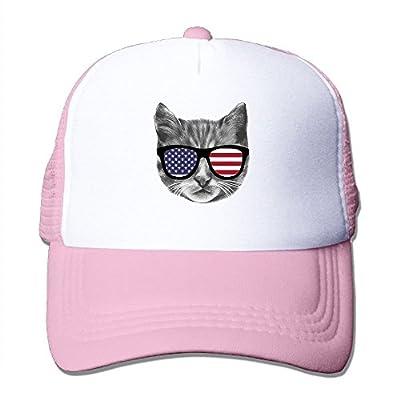 Patriotic Cat Baseball Cap Adjustable Snapback Mesh Trucker Hat by Swesa
