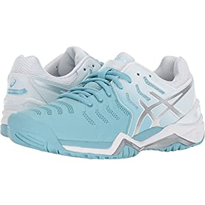 ASICS Womens Gel-Resolution 7 Sneaker, Porcelain Blue/Silver/White, Size 8