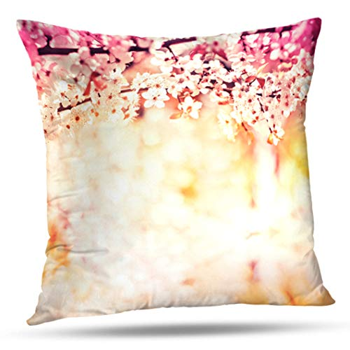 Geericy Decorative Throw Pillow Covers Colorful Apple Blossom Tree Nature Spring Flowers Flower Cushion Cover 18X18 Inch for Bedroom Sofa ()