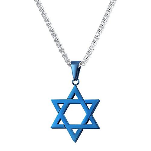 Jewish Jewelry Star (U7 Jewish Jewelry Megan Star of David Pendant Necklace Blue Charm Women Men Chain Stainless Steel Israel Necklace)