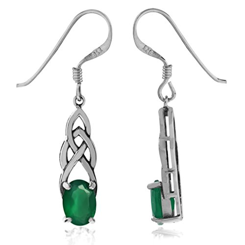 1.44ct. Natural Emerald Green Agate 925 Sterling Silver Celtic Knot Dangle Hook Earrings