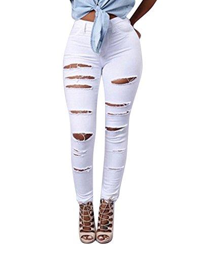 Denim Pantaloni A Strappati Lunghi Alta Jeggings Donna In Bianco Jeans Skinny Vita w7qZS4nUB