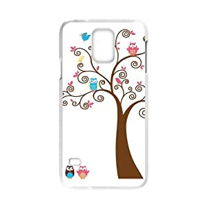 COOL phone case,For white plastic Samsung Galaxy S5 case with Cute Owls on the Trees Pattern at SMALL HORSE store