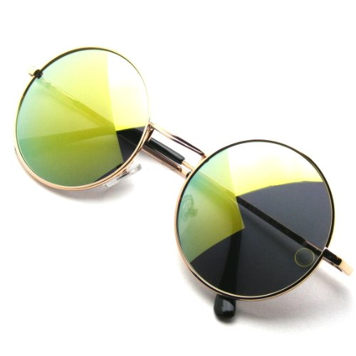 John Lennon Inspired Sunglasses Round Hippie Shades Retro Colored Lenses (Green - Shades Circle Lens