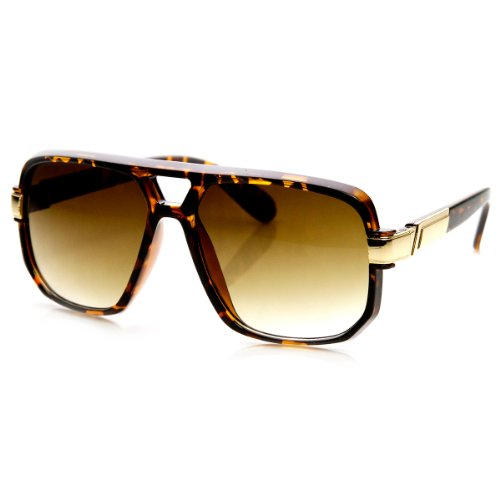 zeroUV - Classic Square Frame Plastic Flat Top Aviator Sunglasses ()