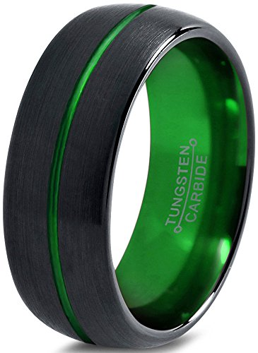 Tungsten Wedding Band Ring 8mm for Men Women Green Black Domed Brushed Polished by Chroma Color Collection