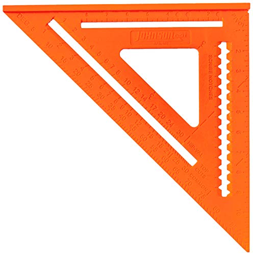 Johnson Level and Tool RAS-170B-ORA 12-Inch GloOrange Structo Cast Rafter Angle Square with out Manual