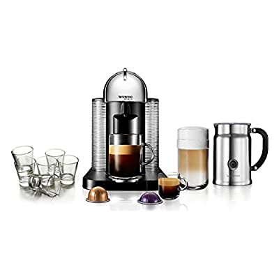 Nespresso VertuoLine Chrome Coffee and Espresso Maker Bundle with Aeroccino Plus Frother and Free Set of 6 Espresso Glasses