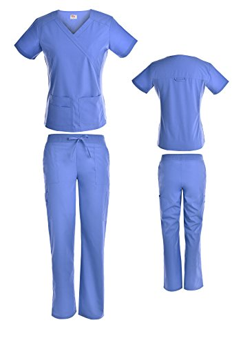 Beverly Hills Women's Scrub Sets/Medical Nursing Uniforms Crossover Mock Wrap Top With Stretch Knit Side Panel and Cargo Pants (Ceil Blue, - Blue Beverly