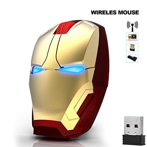(Ergonomic Wireless Mouse, Iron Man Mouse 2.4G Portable Mobile Computer Mouse Optical Mice with USB Receiver, Multi-color choicing, Best for Notebook, PC, Laptop, Computer, Macbook)