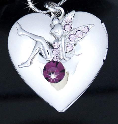 (Purple Austrian Crystal Heart Locket Tinkerbell Fairy Pendant 24Chain Necklace)