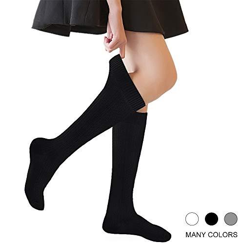 ks Cable Knit 4-10 Years Uniform Tube Cotton Socks Black 3 Pairs ()