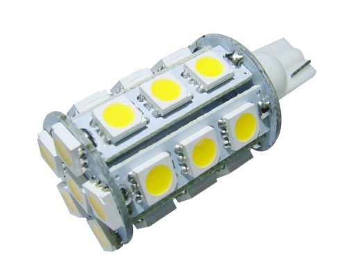 GRV T10 921 194 Wedge 24-5050 SMD LED Bulb lamp Super Bright Warm White AC/DC 12V ~24V Pack of 10 (12v Ac Tail Light)