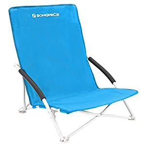 Songmics GCB61S - Silla plegable para camping, hasta 140 kg, tejido Oxford 600D, 76,5 x 16 x 9,5 cm, color azul